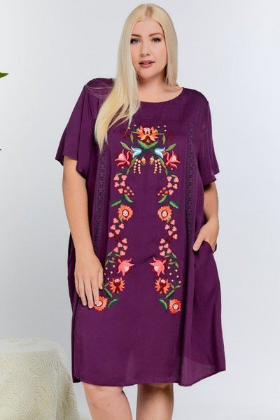 Floral Embroidered Lace Trim Keyhole Back Short Sleeve Shift Dress. - Absolute Fashion 2020