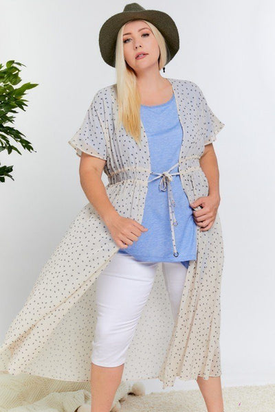 Polka Dot Short Sleeve Long Kimono - Absolute Fashion 2020