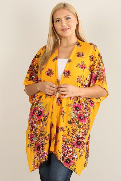 Plus Size Floral Print Kimono - Absolute Fashion 2020