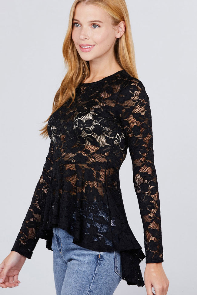 Long Sleeve Round Neck Peplum Lace Top - Absolute Fashion 2020