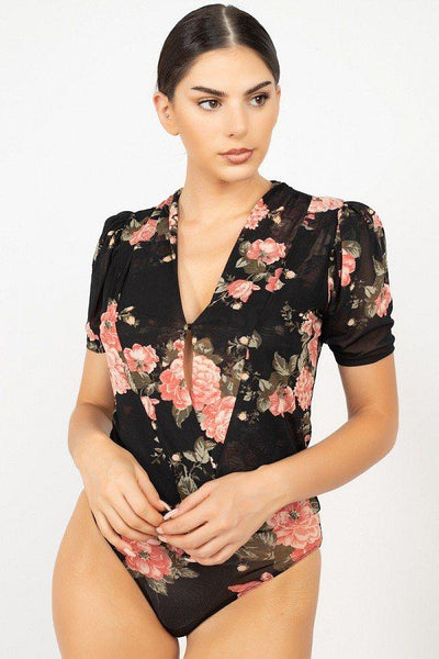 Short Sleeve Floral Bodysuit - Absolute Fashion 2020