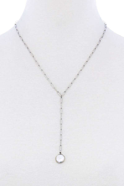 Stylish Fresh Water Pearl Drop Clip Chain Y Necklace - Absolute Fashion 2020