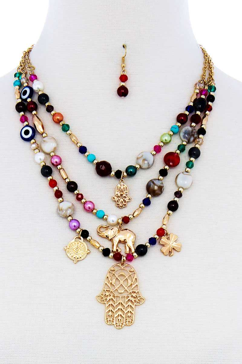 Multi Bead And Hamsa Hand Pendant Necklace - Absolute Fashion 2020