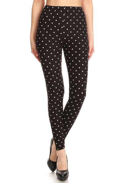 High Waisted Leggings With An Elastic Band In A White Polka Dot Print Over A Black Background - Absolute Fashion 2020