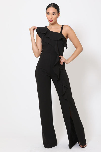 One Shoulder Ruffle Jumpsuit - Absolute Fashion 2020