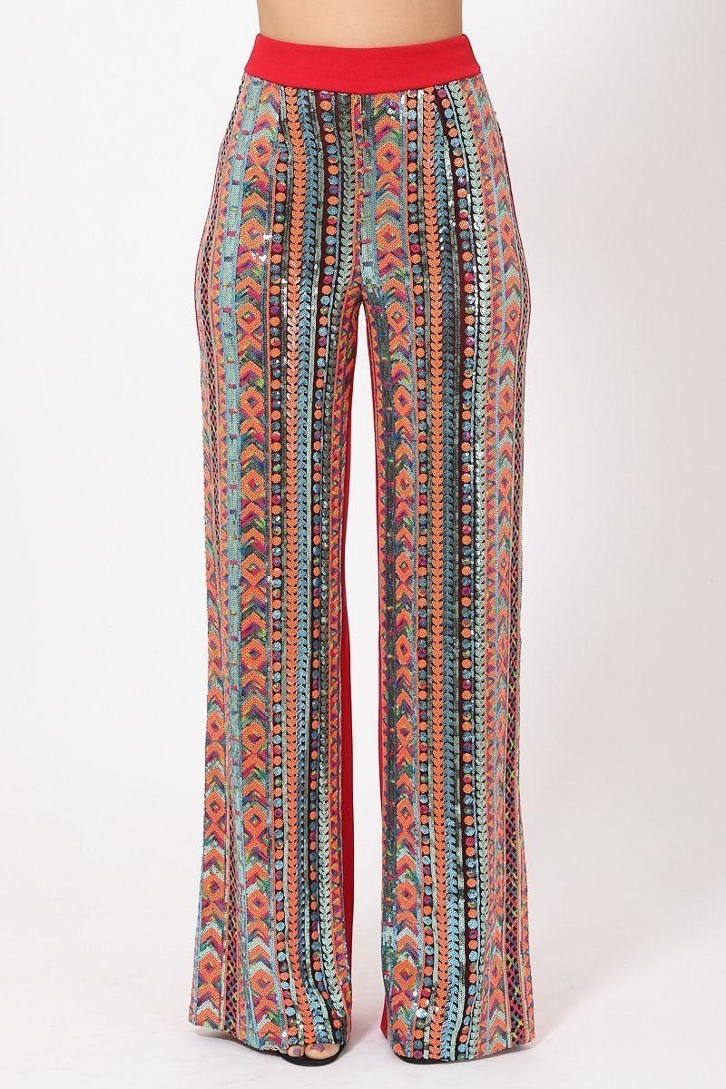 High Waist Colorful Sequins Pattern Pants - Absolute Fashion 2020