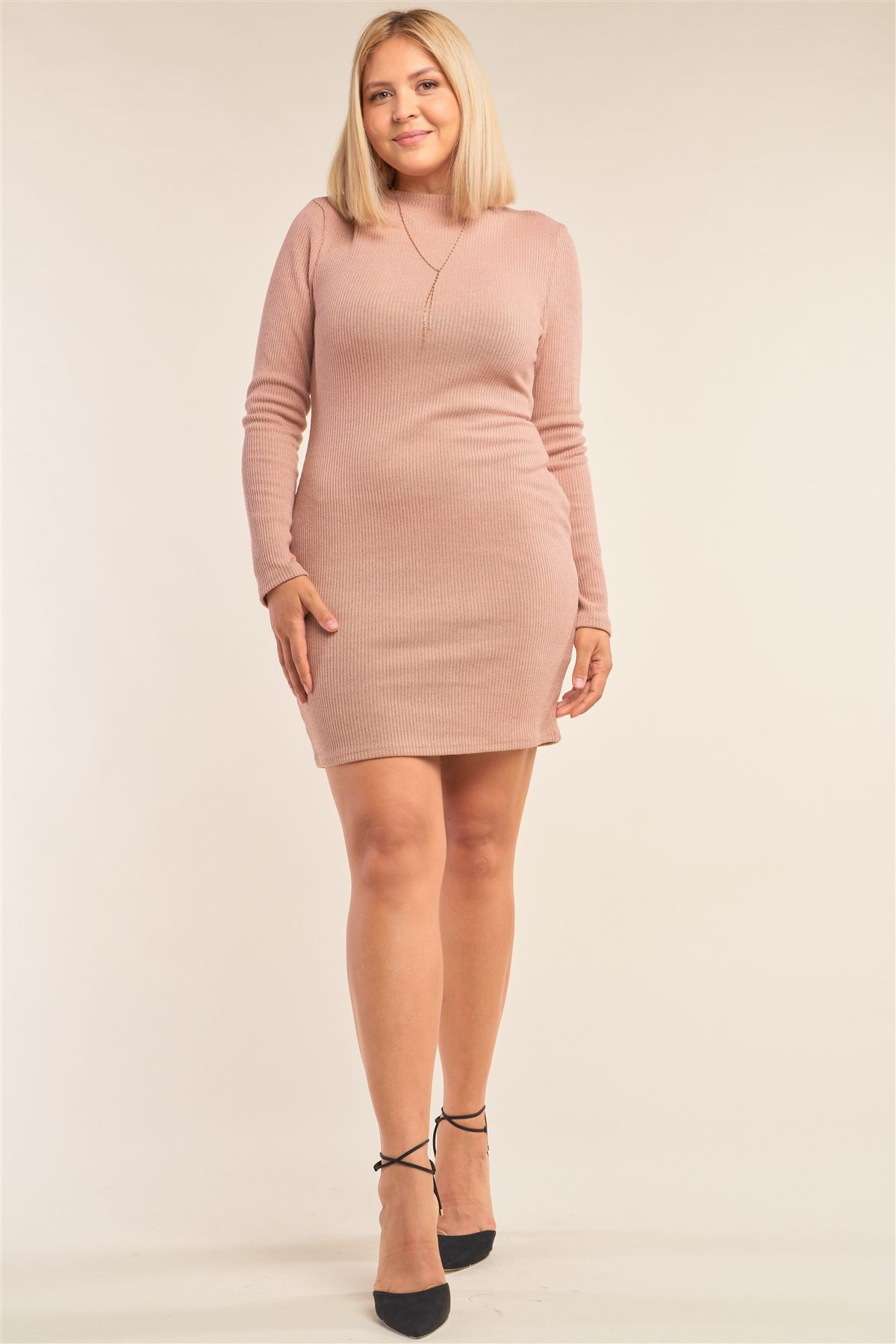 Plus Size Long Sleeve Ribbed Knit Sexy Cut Out Back Mini Dress - Absolute Fashion 2020