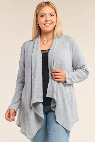 Plus Size Heather Grey Knit Open Front Long Sleeve Asymmetrical Pleated Collar Hem Cardigan - Absolute Fashion 2020