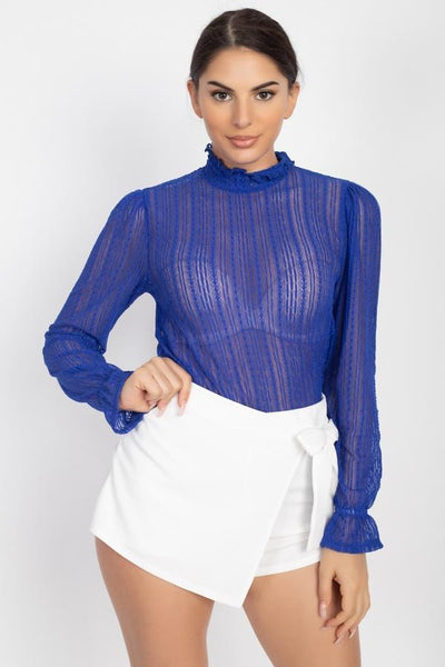Ruffle Mock Neck Lace Top - Absolute Fashion 2020