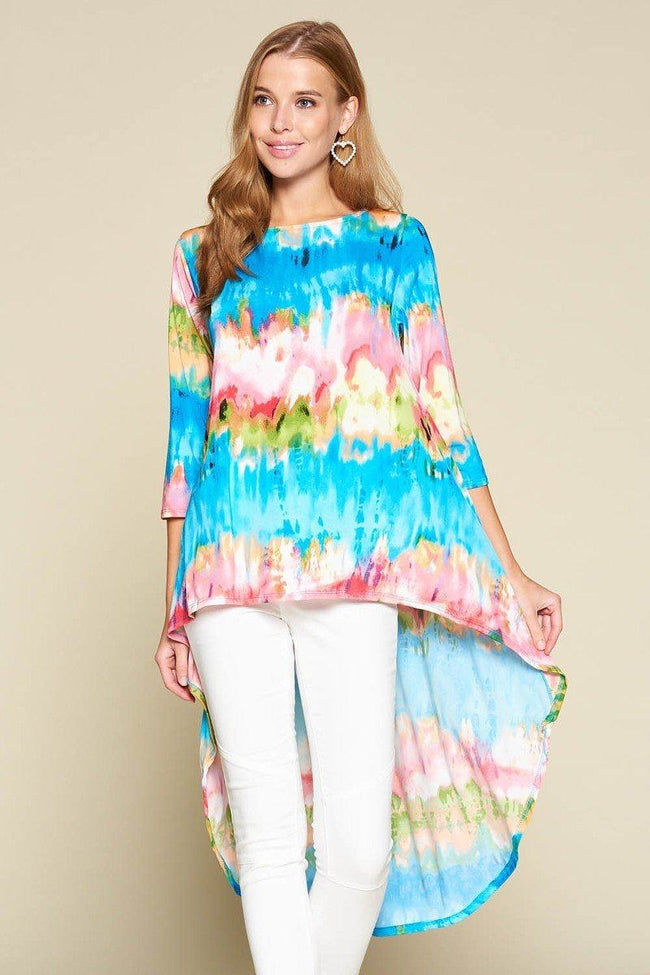 Tie-dye Venechia High Low Fashion Top With 3/4 Sleeves - Absolute Fashion 2020