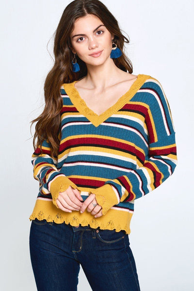 Multi-colored Variegated Striped Knit Sweater - Absolute Fashion 2020