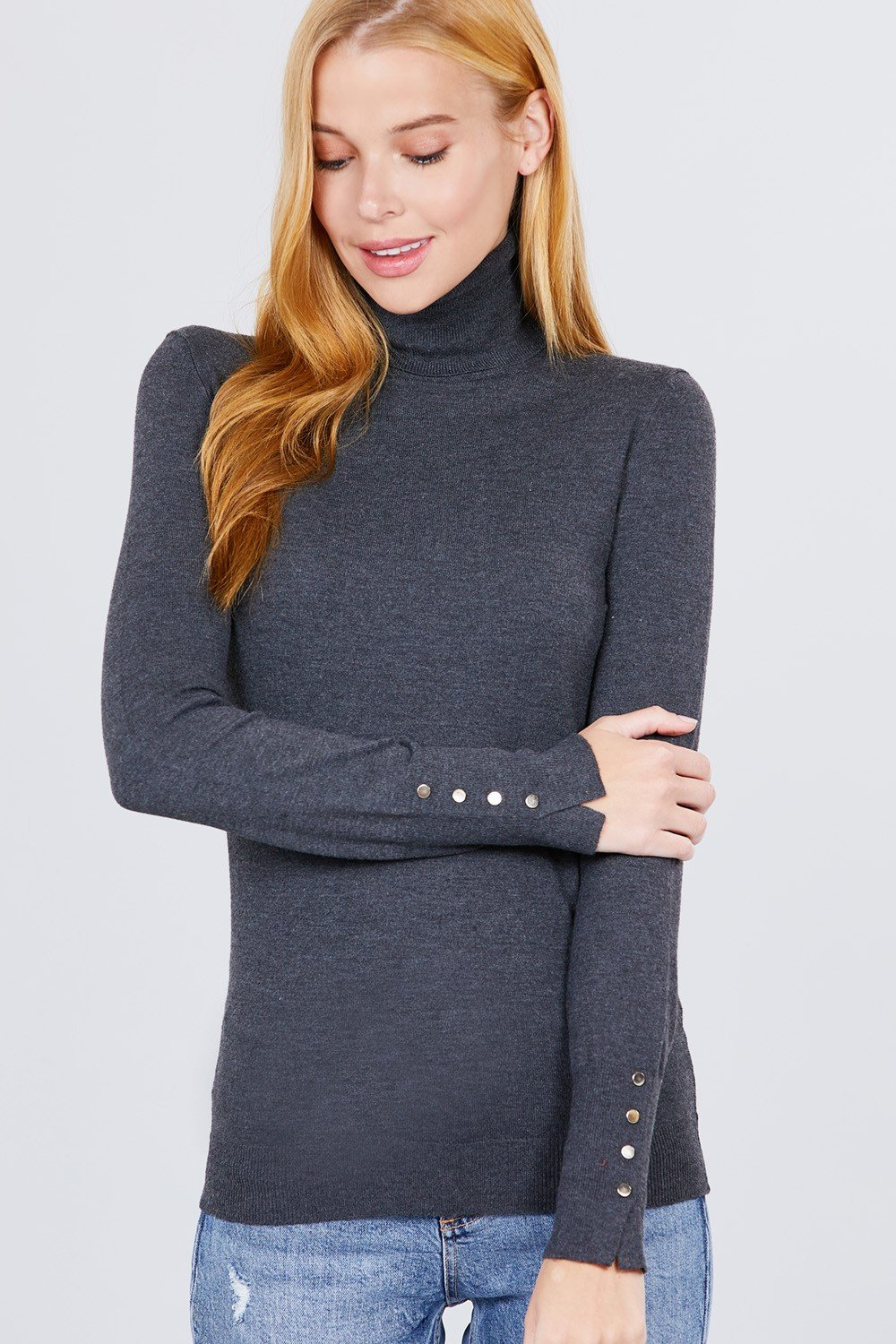 Long Sleeve With Metal Button Detail Turtle Neck Viscose Sweater - Absolute Fashion 2020