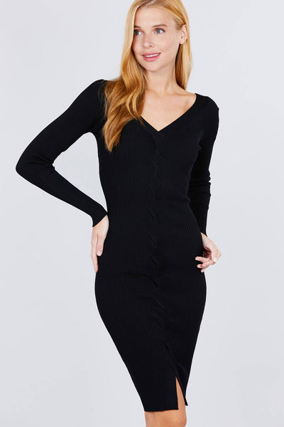 V-neck Twist Detail Sweater Dress - Absolute Fashion 2020