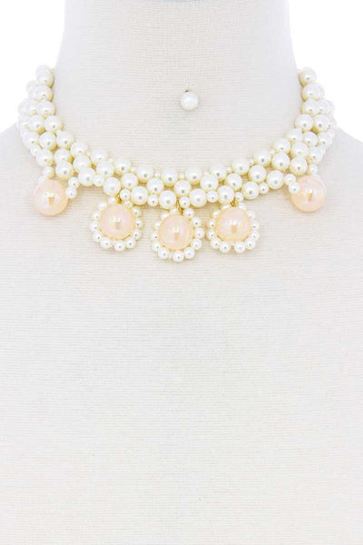 Chunky Rose Pearl Deco Choker Necklace - Absolute Fashion 2020