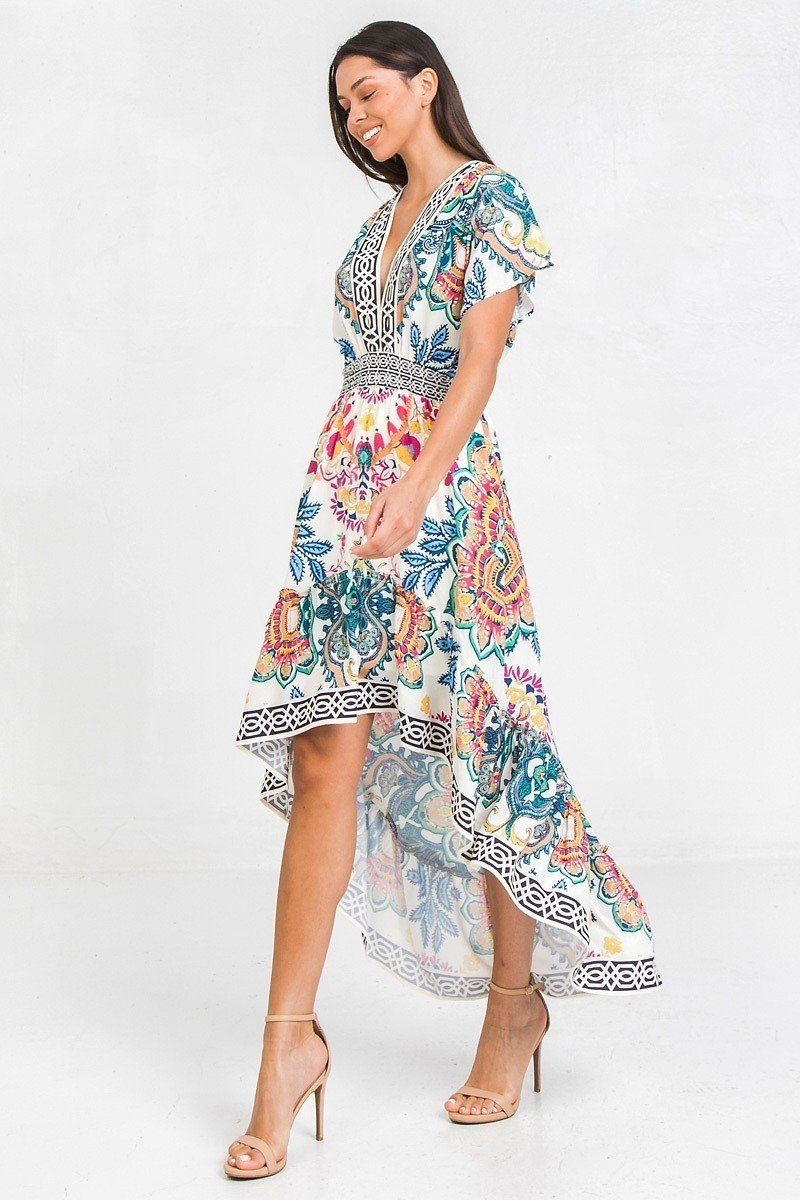 A Printed Woven Hi-lo Dress - Absolute Fashion 2020