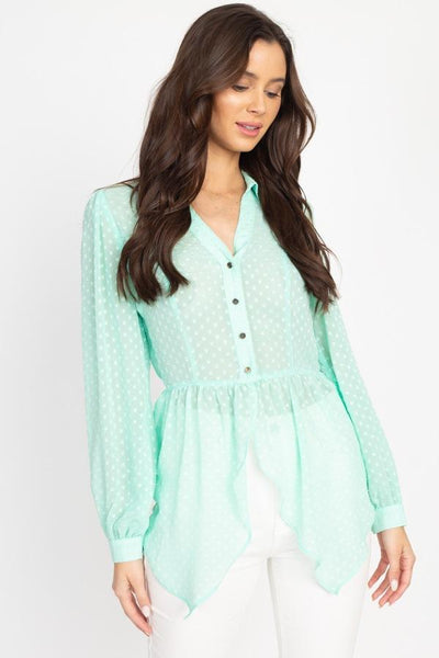 Flounce Hem Polka Dot Blouse - Absolute Fashion 2020
