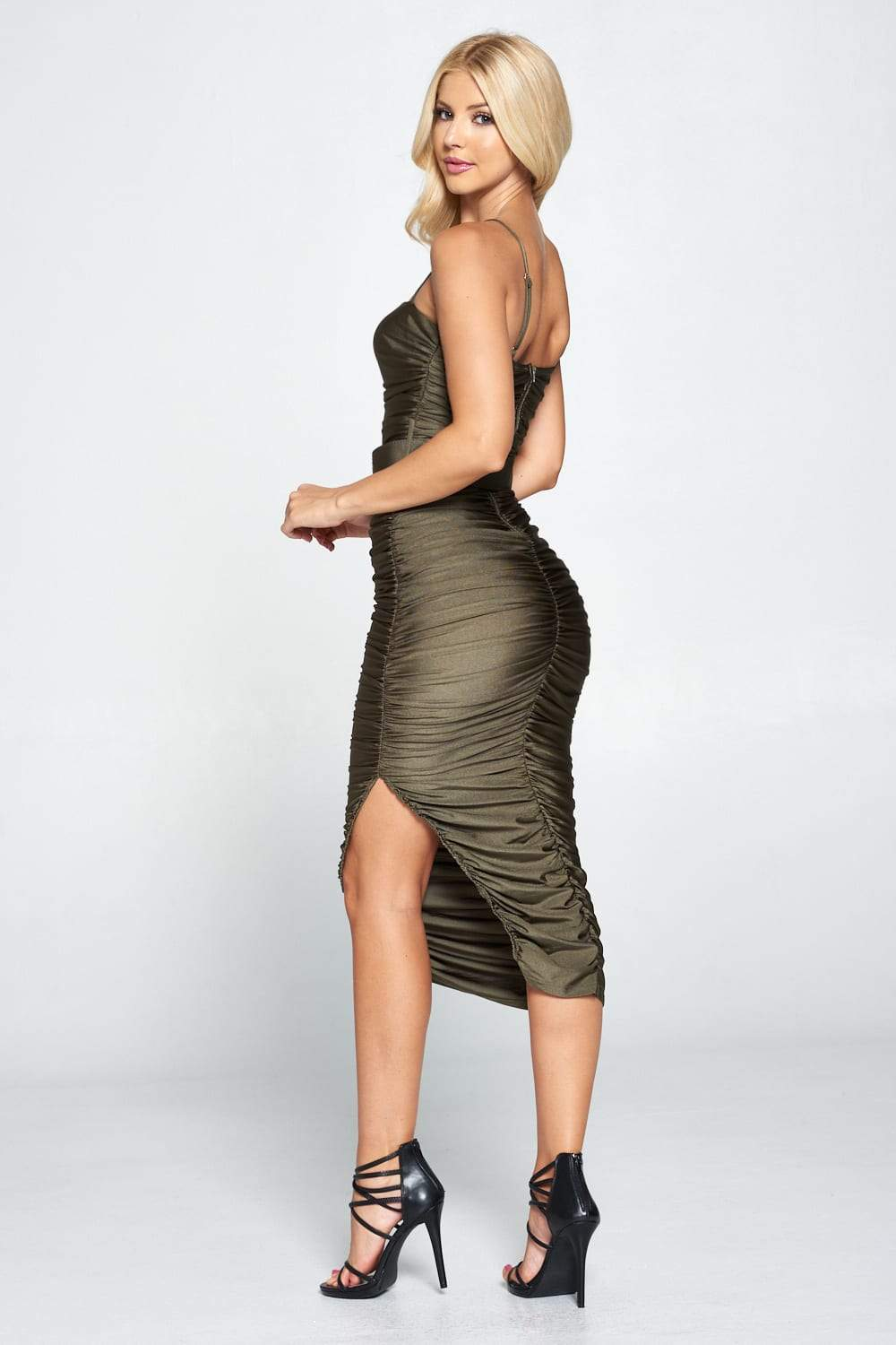 Ruched Belted Midi Dress - Absolute Fashion 2020