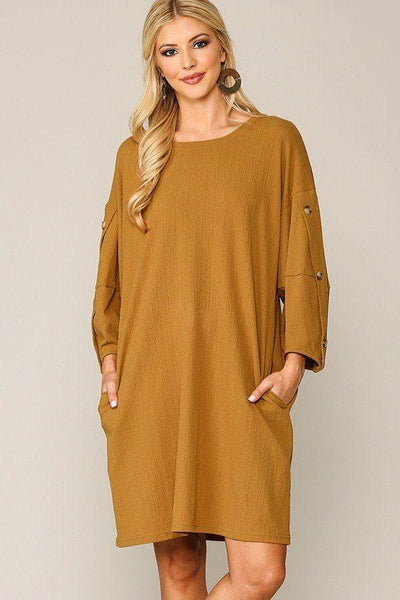Textured Button Accent Puff Sleeve Side Pockets Shift Dress - Absolute Fashion 2020