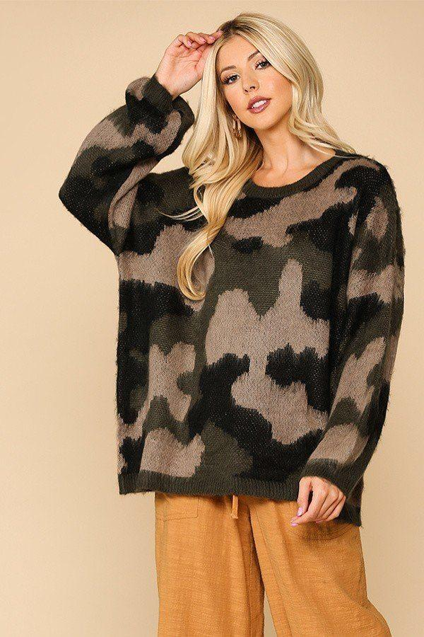Camouflage Pattern Long Sleeves Sweater Top - Absolute Fashion 2020