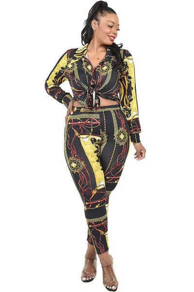 Plus Pattern Printed 2 Piece Legging Set - Absolute Fashion 2020