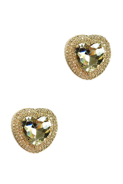 Rhinestone Heart Stud Earring - Absolute Fashion 2020