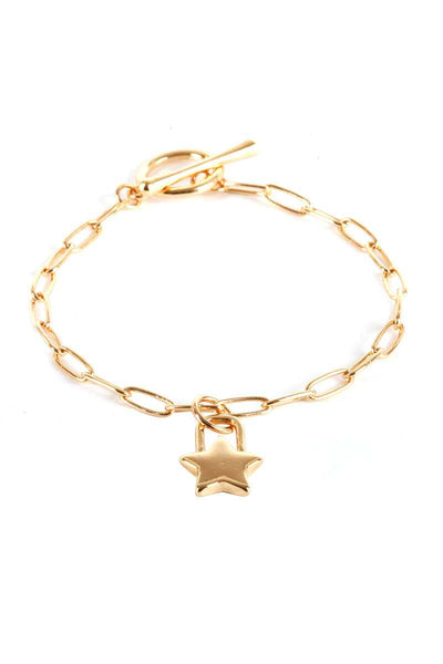 Metal Paper Clip Chain Star Lock Charm Bracelet - Absolute Fashion 2020