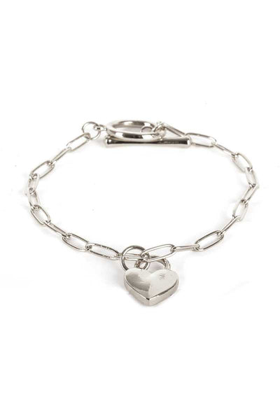 Metal Paper Clip Chain Heart Lock Charm Bracelet - Absolute Fashion 2020