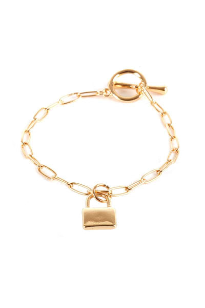 Metal Paper Clip Chain Lock Charm Bracelet - Absolute Fashion 2020