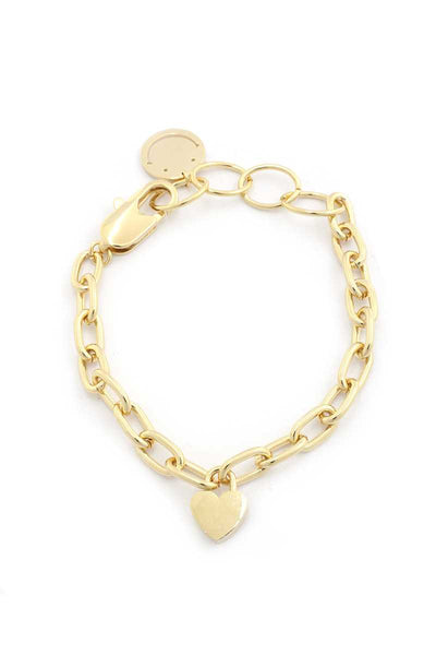 Sodajo Heart Charm Oval Link Bracelet - Absolute Fashion 2020