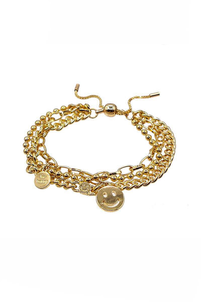 Metal Layered Smile Charm Bracelet - Absolute Fashion 2020