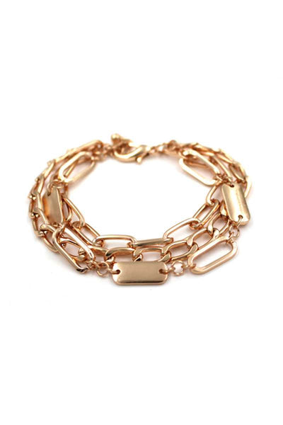 Oval Link Layered Metal Bracelet - Absolute Fashion 2020