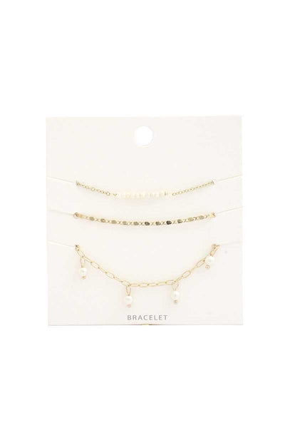 Pearl Oval Link Bracelet Set - Absolute Fashion 2020