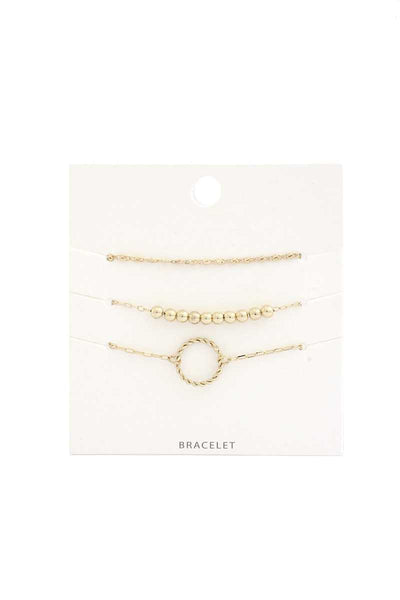 Twisted Circle Metal Bead Bracelet Set - Absolute Fashion 2020