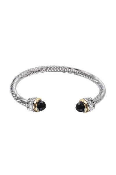 Metal Color Stone Open Cuff Bracelet - Absolute Fashion 2020