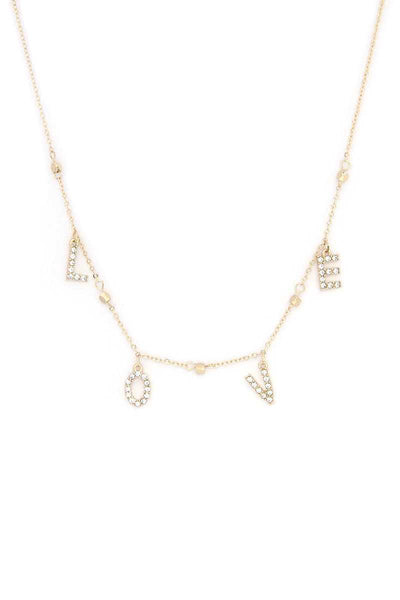 Love Rhinestone Charm Necklace - Absolute Fashion 2020