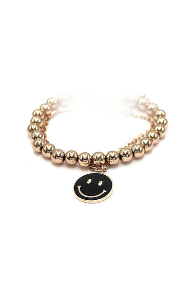Fashion Smiley Face Metal Bead Bracelet - Absolute Fashion 2020