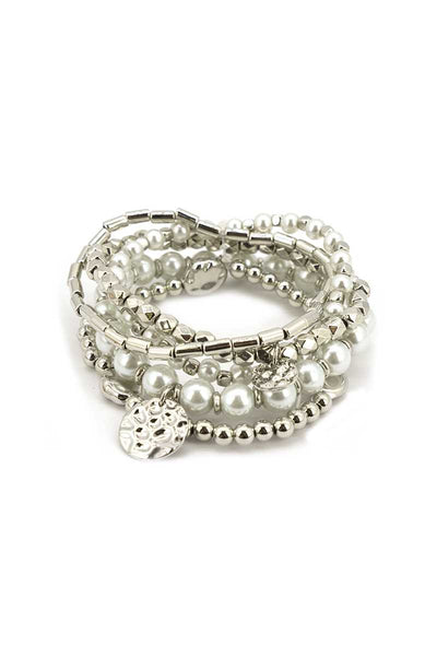 Fashion Metal Pearl Bead Stretch Multi Bracelet - Absolute Fashion 2020