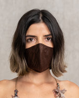 Reversible Washable Brown/Orange Silk Mask