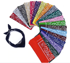 100% Cotton Bandana Square Paisley Scarf Headband