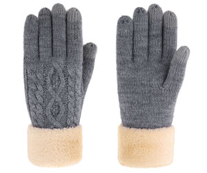 Ladies' 3 Fingers Touchscreen Cable Knit Winter Gloves