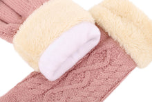 Load image into Gallery viewer, Ladies' 3 Fingers Touchscreen Cable Knit Winter Gloves