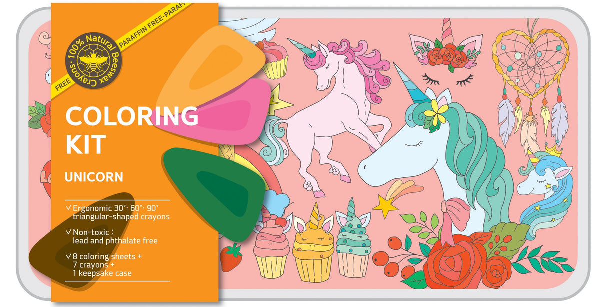 Coloring Kit Set - SAFARI + OCEAN + UNICORN Large