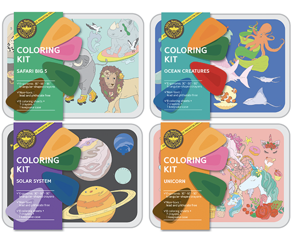 Coloring Kit- SAFARI + OCEAN + PLANETS + UNICORN