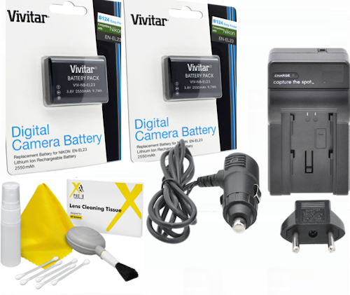 2x Vivitar EN-EL23 Battery + Charger for Nikon Coolpix B700 P900 S810c P610 P6