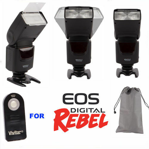 ZOOM SWIVEL PRO FLASH FOR CANON EOS REBEL T6 T6I T6S T7 T7I 7D 70D 80D SL2 1100D