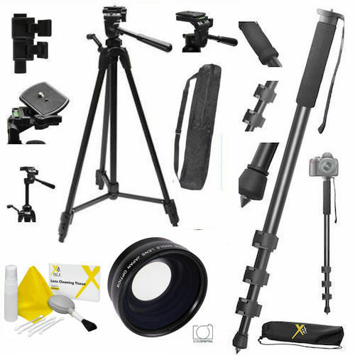 "72"" TRIPOD + 72"" MONOPOD + WIDE ANGLE LENS FOR CANON EOS REBEL T3 T3I T4 T4I T5"