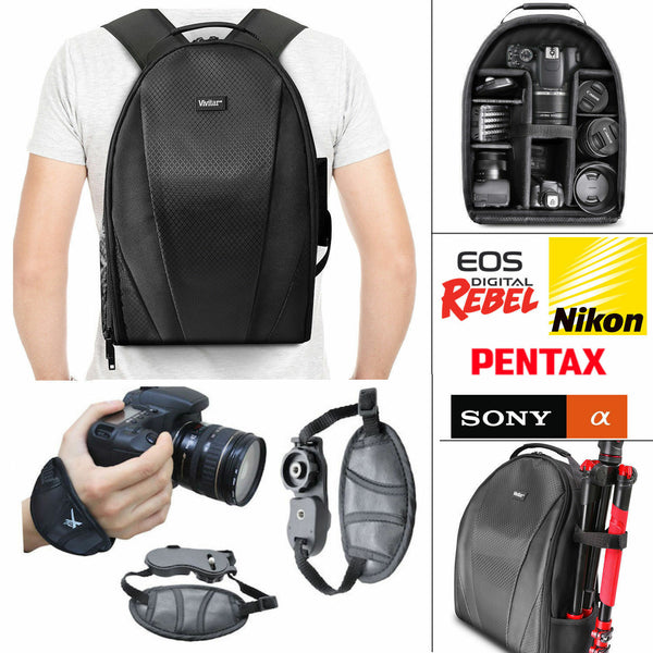VIVITAR CAMERA BACKPACK BAG + WRIST STABILIZING GRIP FOR CANON NIKON SONY PENTAX