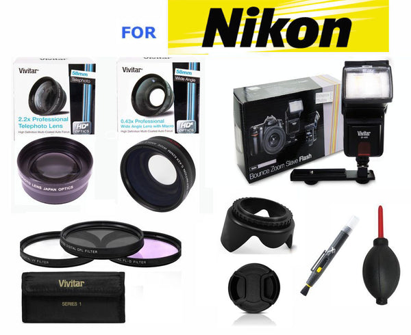 WIDE ANGLE TELEPHOTO ZOOM LENS FLASH KIT FOR NIKON D3200 FREE FAST SHIPPING !!!!