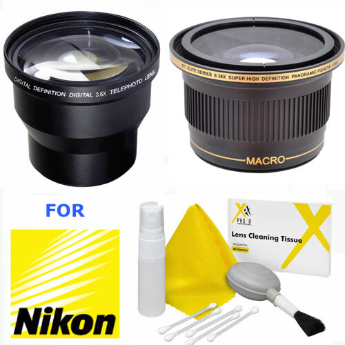 3.6x TELEPHOTO ZOOM LENS + X38 WIDE ANGLE LENS FOR NIKON D3000 D3100 D32000