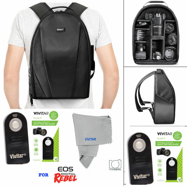 VIVITAR LARGE BACKPACK BAG + REMOTE FOR CANON EOS REBELT1 T2 T3 XS XSI XT XTI T5